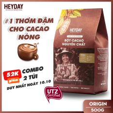 Bột cacao nguyên chất 100% Heyday – Dòng origin thượng hạng 18% bơ cacao tự nhiên – Túi 500g – Không đường không phụ gia không hương liệu – Chuẩn UTZ Quốc Tế