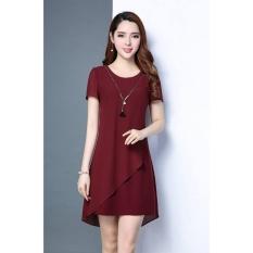 Giá Khuyến Mại Đầm suông phối voan Misa Fashion MS257 / Đỏ đô