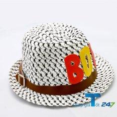 Mũ cói đính logo da phong cách bé trai GT247 (Trắng)