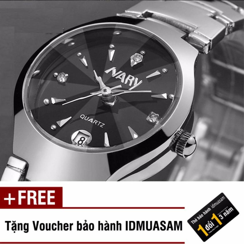 Chỗ bán Đồng hồ nam dây thép không gỉ cao cấp Nary 2561 (Đen) + Tặng kèm voucher bảo hành IDMUASAM