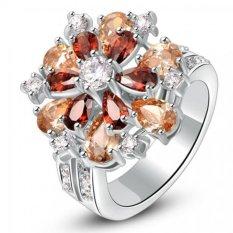 Nhẫn bạc bông hoa đính đá màu