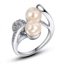 Nhẫn bạc đính 2 hạt trai