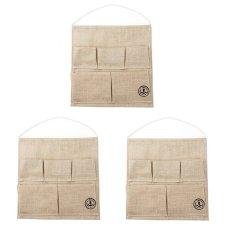Bộ 3 túi treo vải bố 5 ngăn (Nâu)