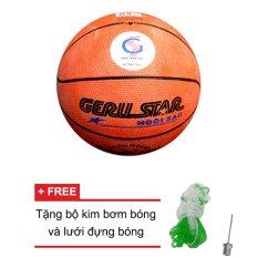 Quả bóng rổ Gerustar số 5 cao su (cam) + Tặng bộ kim bơm bóng và lưới đựng bóng