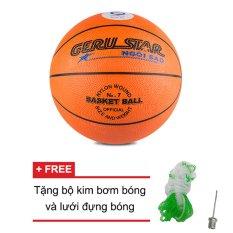 Quả bóng rổ Gerustar số 7 cao su (cam) + Tặng bộ kim bơm bóng và lưới đựng bóng