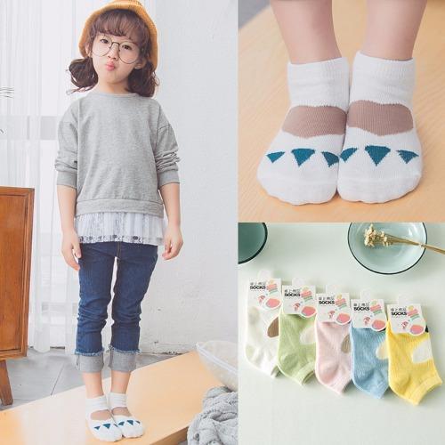 Bộ 5 đôi Tất xuất Hàn trẻ em cổ ngắn từ 1 đến 10 tuổi