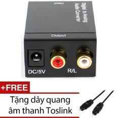 Thiết bị chuyển đổi Converter Quang sang âm thanh Toslink Coaxial to Audio R/F (Đen) + Tặng 1 Dây quang âm thanh Toslink