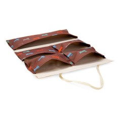 Túi treo 5 ngăn vải dày thanh gỗ chống thấm (Nâu)
