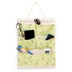 Túi treo 5 ngăn vải dày thanh gỗ chống thấm (Xanh lá)