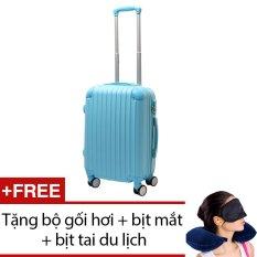 Vali nhựa cứng SAM 20 inch (Xanh) + Tặng bộ 1 gối hơi, 1 bịt mắt và 1 cặp bịt tai du lịch
