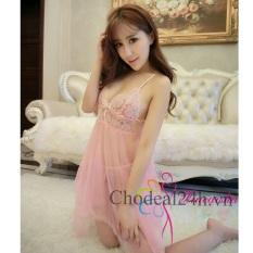 Váy ngủ Sexy Voan mỏng đệm Ren Chodeal24h.vn (Hồng phấn)