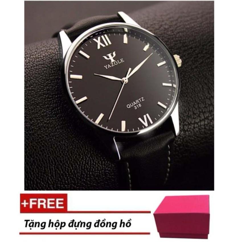 Giá Sốc Đồng hồ nam Yazole 318 dây da sang trọng (Đen) + Tặng hộp đồng hồ Win Win